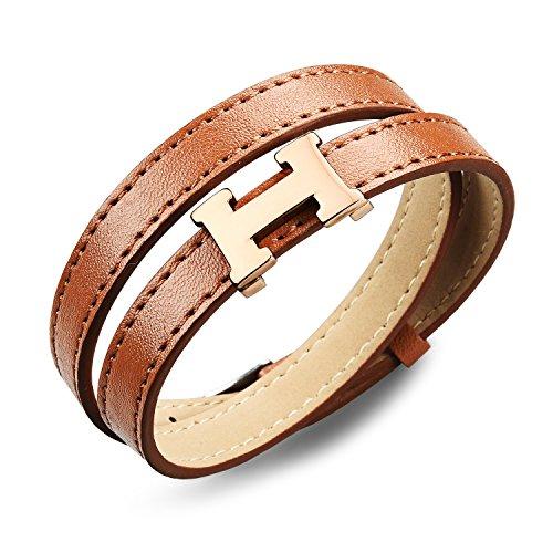 eder Armband Armreif Wickelarmband Silber Braun H Buchstabe Design Gürtel Schnalle Herren (H Armband Armreif)