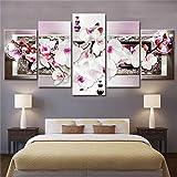 OHHCO Cuadro sobre Lienzo Pintura Moderna Lienzo 5 Paneles Decoración Orquídea Blanca Flor...