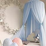 Jannyshop Baldachin Betthimmel Moskitonetz Kinderzimmer Babybett Romantische Kuschel- und Leseecke mit Himmelbett für ein Kinderzimmer Pink/Weiß/Khaki/Grau/Hellblau (Hellblau)