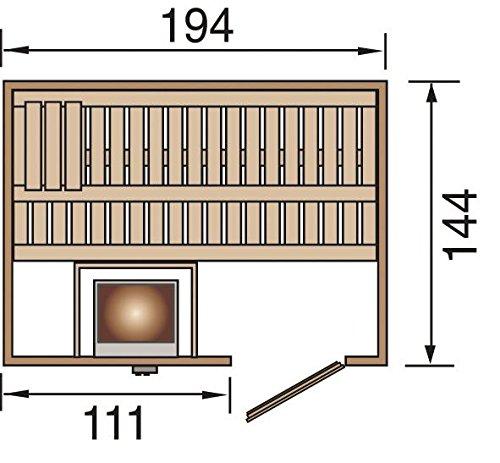 Weka Elementsauna 506 HT Gr. 1 inkl. 7,5 kW Sauna-Ofen mit externer Steuerung (OS)