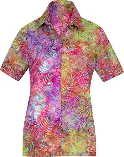 LA LEELA Strand tragen Kurze Ärmel lose Hawaii Hemd Rosa_AA146 XXL - DE Größe :- 50-54