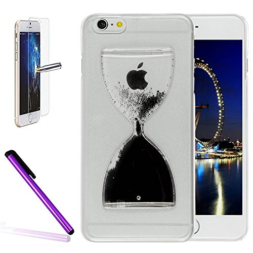 iPhone 6 Plus/6S Plus 14 cm liquide brillant paillettes Bling cas, newstars Design Double Couche dynamique Fluide flottant Quicksand Coque pour iPhone 6 Plus/6S Plus, 3D Design Créatif en plastique tr Hourglass Black