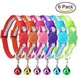 HOMIMP 6 Pcs Reflective Cat Collars Quick Release with Bell Breakaway Nylon Collars Set, Star Reflective Stripes 20-28 cm
