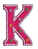 K 5cm hoch rosa Stoff Dekoration Aufnäher Bügelbild