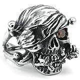 Daesar Stainless Steel Rings Mens Cubic Zirconia Rings Skull Gothic Punk Biker Rings Chunky UK:R 1/2