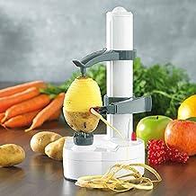 Apple Peeler - Pelador multifunción con cuchilla de acero inoxidable eléctrico, pelador de patatas máquina automática (Blanco)