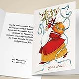 100er Weihnachtskarten Set Klassische Unternehmen Weihnachtskarten mit gemaltem Weihnachtsmann, heiligem Nikolaus, mit ihrem Innentext (Var8) drucken lassen, als geschäftliche Weihnachtsgrüße / Glückwunsch zu Neujahr / Weihnachtskarte an Firmenkunden, Geschäftspartner, Mitarbeiter: Fröhliche Weihnachten