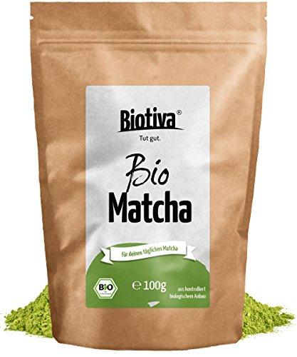 Bio Matcha-Tee (Bio, 100g) | Jetzt zum Einführungspreis - Original Bio-Matchapulver für Matcha-Latte, Matcha-Smoothies, Matcha-Tee | 100g hochwertigster Biomatcha| 100% aus nachhaltigem Anbau / Höchste Qualität von Biotiva I Abgefüllt und kontrolliert in Deutschland (DE-ÖKO-005)