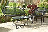 Sue Ryder String Garden Outdoor Furniture Sofa Chair and Coffee Table Set Black