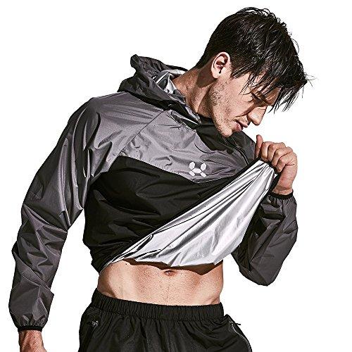 HOTSUIT Saunaanzug Men Weight Loss Gym Trainingsanzug Trainingsjacke, Grau, L