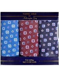 3 paquets de mouchoirs de Mens/Gentlemens motif imprimé 100 % coton assortiment de couleurs, dans une boîte cadeau