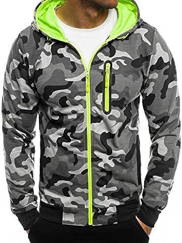OZONEE Herren Sweatshirt Pullover Kaputzenpullover Pulli Sweats Militär Camouflage RED FIREBALL 1121 2XL