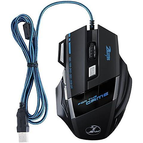 Ratón 5500 DPI para Gaming 1000-1600-2400-3200-5500 DPI LED Óptico con 7 Botón y Alfombrilla de Ratón para Notebook Ordenador Portátil Compatible con Windows 7, 8, 10,Windows XP, Vista, ME, 2000 y Mac OS, o el último