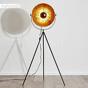 Standlampe Saturn - Stehlampe Vintage 43cm mit Lampenschirm in Gold und Schwarz - 40 Watt LED Leuchtmittel, Eco Halogen, Energiesparlampen - auffälliges Retro Design
