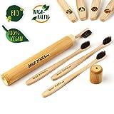 Bambù im Spazzolino da e set 4 con custodia da viaggio - Spazzolino Manuale con Manico in legno di bambù 100% - Biodegradabili, vegan & senza BPA - Piccola spazzola testa & Carbone Attivo s