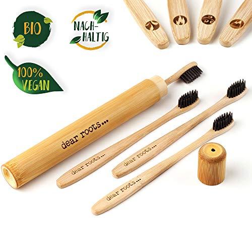 Bambus Zahnbürste 4er Set mit Reiseetui aus nachhaltigem Bambus Holz ♻ 100% vegan & BPA-frei ♻ Kleiner Bürstenkopf und mittelweiche Aktivkohle Borsten für beste Reinigung & weiße Zähne