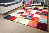 Designer Teppich Modern - Modena - Karo Bunt Öko-Tex Karo Muster, Größe 80x150 cm