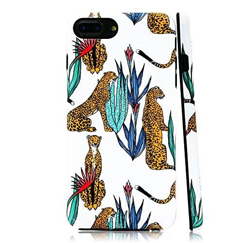 lartin Weicher Flexibler Jellybean Gel TPU Fall für iPhone 8Plus/iPhone 7Plus/iPhone 6S Plus/iPhone 6Plus, Cheetah with Tropical Plants (I Phone 6 Fällen Cheetah)