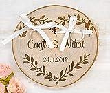 Ringkissen aus Holz personalisiert zur Hochzeit, Ringträgerkissen mit Damen und Datum