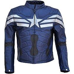 classyak Hombres del Capitán América Soldado de Invierno de Piel chaqueta Negro Cow Black X-Small