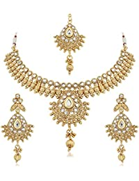 PALASH DELICATE GOLD PLATED NECKLACE SET WITH WHITE AUSTRIAN DIAMOND WITH MANGTIKA FOR WOMEN