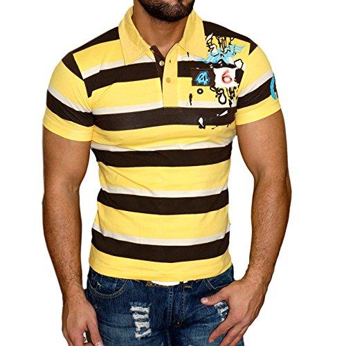 Rusty Neal Kurzarm Slim Fit Herren Rundhals Shirt Motiv T-Shirt Schwarz RN-357 Gelb