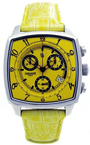 Lancaster 0262GSG - Orologio da polso da uomo, cinturino in pelle colore giallo