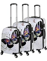 """Generic 20/24/28""""Juego de 3pcs de 4ruedas PC Spinner–Maleta, Color blanco y azul/rosa mariposa conjunto de equipaje de viaje Varios colores White butterfly Talla:20""""/24""""/28"""" 3PCS Set"""
