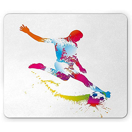 Rutschfest Mouse Mat,Sports Mouse Pad Silhouette Of Abstract Style Soccer Young Sportsman Kicks The Ball Goal Win Match Rectangle Non-Slip Rubber Mousepad 18X22Cm
