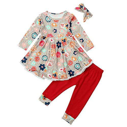 Vêtements Fille,Enfant En Bas âge Bébé Filles Imprimé Floral Robe Pantalon Bandeau Tenues Vêtements Ensemble (3-4ans, Rouge)