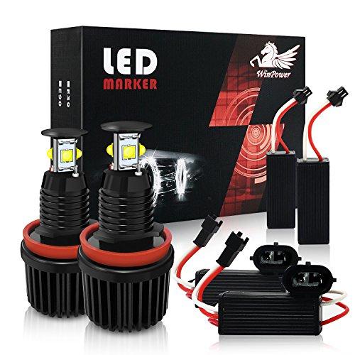 Win Power H8 40W LED Fari Angel Eyes per auto Kit di conversione alogeno CanBus nessun errore Luci di posizione CREE 6000K Xenon bianco E82 E87 E90 E91 E92 E93 E60 E61 E64 E70 E71 E89, 2 Pezz