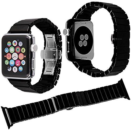 Nike Sport-uhren Frauen (Qianyou Keramik Armband Apple Watch, 42mm Ceramic Apple Watch Armband Ersatzband Uhrenarmbänder für Apple Watch Series 3 Series 2 Series 1,Sport Edition,Nike+,Herren Frauen,Schwarz-1 Row)