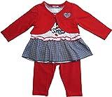 Minnie Mouse Kollektion 2018 Kleid, Leggins und Bolero 56 62 68 74 80 86 92 Shirt Mädchen Top Maus Set Weiß-Rot (Weiß-Rot, 86)