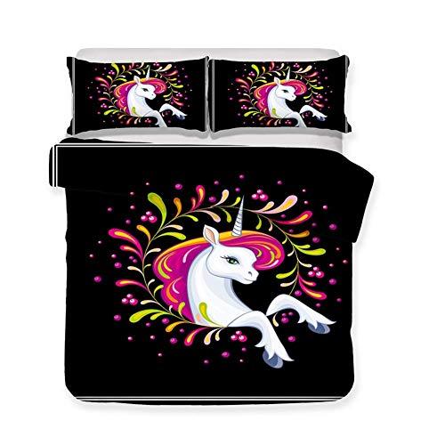 Einhorn Bettwäsche Set Weißes Einhorn Rosa Haar Punkte Hintergrund Schwarz Bettbezug Set 3 Stück (1 Bettbezug 2 Kissenbezug) für Kinder und Mädchen