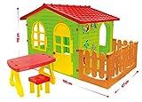 Mochtoys 59007442115413 NEU !! Spielhaus Gartenhaus für Kinder mit Garten 190 cm x 127 cm x 118 cm, Spielhaus Tisch + Stuhl XXL