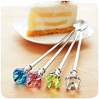 Sellify PP : Creative Crystal drop diamond stainless steel spoon 2446 long handled coffee dessert spoon tableware 22. 2*2cm