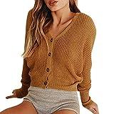 ZODOF Suéter de Punto Suelto Chaqueta Mujeres Floja Ocasional Suéter de Punto Pullover Las Mujeres de Moda de Punto sólido de Manga Larga Cardigan Button Tops suéter Suelto Capa