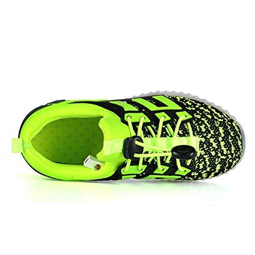 JTENGYAO LED Schuhe USB Aufladen Leuchtend Sportschuhe Sneakers für Unisex Kinder Grün