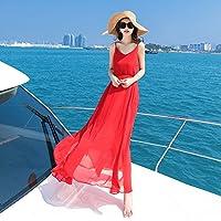 HHQWERW Vacaciones De Verano En La Playa Vestir Falda Chiffon Vestido ,M,Gules