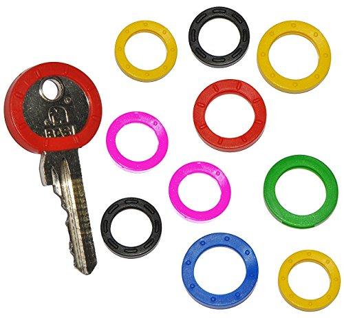 """Preisvergleich Produktbild 10 tlg Set _ Schlüsselring bunt - Durchmesser - 25mm bis 30mm- Schlüsselringe - """" bunte Farben & Tastzeichen """" - schwarz / rot / gelb / pink / blau - 20 & 30 mm für Schlüssel rund runde - Schlüsselkappe / Schlüsselkennring - Schlüsselköpfe - Schlüsselkennringe & Schlüsselkopf"""