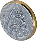 hr-imotion Sankt Christopherus Plakette mit goldenen Rahmen [Made in Germany | selbstklebend | 38mm Durchmesser] - 10210301