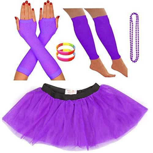 Redstar Fancy Dress Ensemble Bracelet fluo Tutu Jambières Gants en résille Collier de perles - Violet - Taille unique