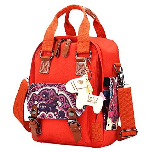Yy.f Versatile Borse Di Tela Sacchetto Della Mummia Moda Tromba Shoulder Bag Messenger Stile Etnico Retro Signore Sacchetto Di Modo Multicolore Red