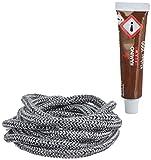 Kamino - Flam 333203 Cordón para chimenea de longitud de 2m x 6 mm y con tubo de pegamento de 20g, Gris