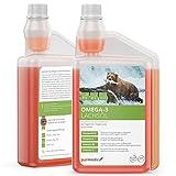 purmedica Omega-3 Lachsöl kaltgepresst, für Hunde, Katzen und Pferde, 100% rein, ideal für BARF zur täglichen Ergänzung zum Futter, 1L Dosierflasche
