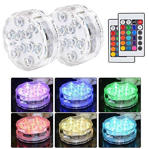 ATPWONZ Unterwasser Licht 10 LED RGB 16 Farben Unterwasser Beleuchtung mit Fernbedienung für Whirlpool, Badewanne, Brunnen, Aquarium, Vase Base, 2 Stück