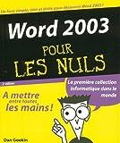 Telecharger Livres WORD 2003 2ED PR NULS (PDF,EPUB,MOBI) gratuits en Francaise
