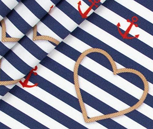 0,5m Jersey Maritime Liebe - Herzen mit Tauen BioBunt
