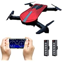 JD-18 Foldable Drone Mini, Selfie Drone with Camera Live Transmission WIFI FPV Mobile Phone APPControl G-sensor Control, Voice Control, Automatic Hover 3D Flip Stunt Headless Mode Suitable for all Level Pilots, 2MP HD Camera, 1 Battery,Red - Compare prices on radiocontrollers.eu