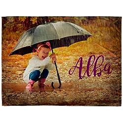 Lolapix Manta Suave Personalizada con tu Foto, diseño o Texto, Original y Exclusivo. Tamaño 75x105cm.